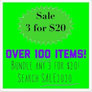 3/$20 closet sale! All listings with GREEN sign